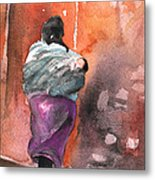 Moroccan Woman With Baby Detail Metal Print