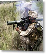 Mortarman Fires An At4 Anti-tank Weapon Metal Print by Stocktrek Images