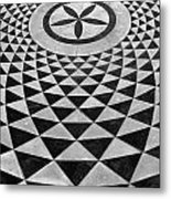 Mosaic Black And White Floor Metal Print