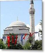 Mosque And Flags Metal Print