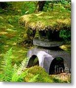 Mossy Japanese Garden Lantern Metal Print