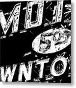 Motel Sign Black And White Metal Print