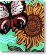 Moth And Sunflower Metal Print