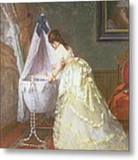 Mother And Baby Metal Print by Fritz Paulsen