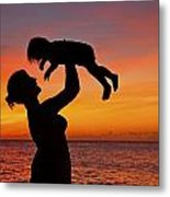 Mother And Child Sunset Silhouette Metal Print