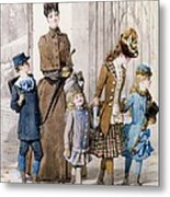Mother And Children In Walking Dress  Metal Print