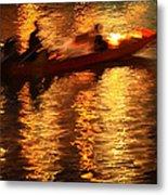 Motion Blur Photo Of Bangkok Local Speed Boat On Chao Phra Ya Ri Metal Print