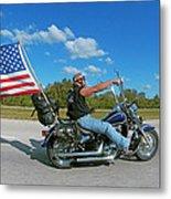 Motorcycle And Flag Metal Print
