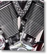 Motorcycle Engine Chrome Metal Print