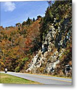 Motorcycle On The Highway Metal Print