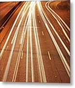Motorway Light Trails Metal Print by Richard Newstead