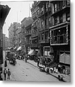 Mott Street In New York Citys Chinatown Metal Print by Everett