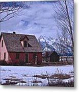 Moulton's Pink House On Mormon Row Metal Print