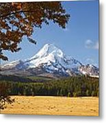 Mount Hood And Autumn Colours In Hood Metal Print
