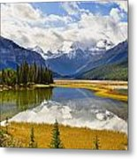 Mount Kitchener Reflected In Pond Metal Print by Yves Marcoux