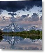 Mount Moran Under Black Cloud Metal Print