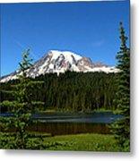 Mount Rainier And Reflection Lake Metal Print