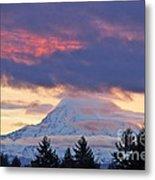 Mount Rainier Shrouded In Clouds Metal Print