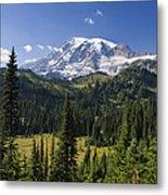 Mount Rainier With Coniferous Forest Metal Print