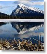 Mount Rundle In Winter Metal Print
