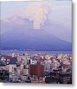 Mount Sakurajima Erupting In Front Of Metal Print