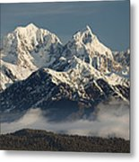 Mount Tasman And Mount Cook Southern Metal Print by Colin Monteath
