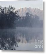 Mountain And Trees Reflected In The Water Metal Print