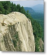 Mountain Biker On Edge Of Cliff Metal Print