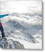 Mountain Guide Snowboard Instructor Pointing Out Peaks In Davos Metal Print
