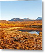 Mountain In Autumn Metal Print by Conny Sjostrom