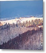 Mountain Landscape In Brasov County Metal Print