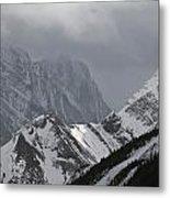 Mountain Peaks In Clouds, Spray Lakes Metal Print