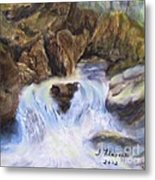 Mountain Waterfalls Painting Metal Print