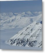 Mountains And Glaciers Near Ny Alesund Metal Print