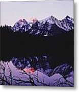 Mountains And Lake At Icefields Parkway Metal Print