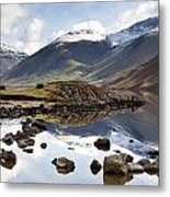 Mountains And Lake At Lake District Metal Print