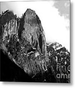 Mountains Of Yosemite . 7d6167 . Black And White Metal Print by Wingsdomain Art and Photography