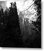 Mountains Of Yosemite . 7d6214 . Black And White Metal Print