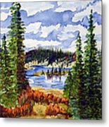 Mountian Lake Metal Print by Linda Pope