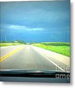 Moving Along Driver Seat View Metal Print