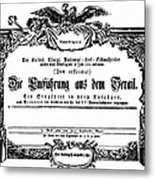 Mozart: Seraglio, 1782 Metal Print