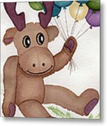Mr Moose With Balloons Metal Print by Vikki Wicks