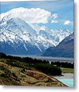 Mt Cook Across Lake Pukaki Metal Print