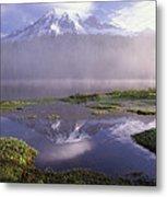 Mt Rainier An Active Volcano Encased Metal Print