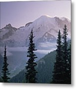 Mt Rainier As Seen At Sunrise Mt Metal Print