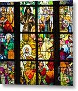 Mucha Window St Vitus Cathedral Prague Metal Print by Matthias Hauser
