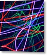 Multi-colored Glowing Light Streaks Metal Print