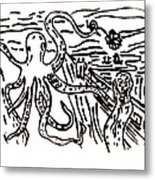 Munch On Octopussy A Tribute To Munch With Romantic Octopus Pier Screaming Boats Lake Flower Love Metal Print