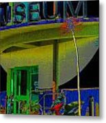 Museum Entrance With Faux Palm Trees Metal Print