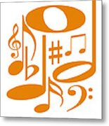 Musical Orange Metal Print